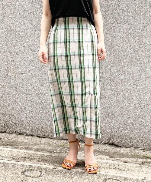 FC チェック Iラインスカート