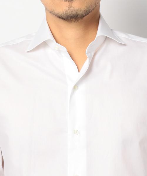 SD: ALBINI社製生地 オックスフォード ソリッド ホリゾンタルカラーシャツ(ホワイト)