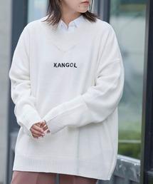 ▽WEB限定 MONO-MART×KANGOL 別注 オーバーサイズチルデンニットオフホワイト