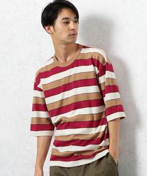 SC マルチボーダー クルーネック 5分袖 Tシャツ ◆