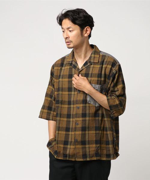 SHITAMACHI SHIRTS/WIDE CHECK SERIES ヘンプコットン素材 シャツ