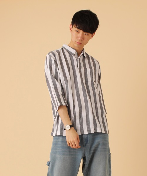 【BURNER SELECT】パナマ織りスキッパ― シャツ七分袖