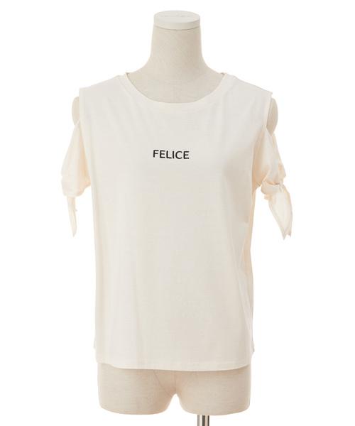ソデリボンロゴシシュウTシャツ