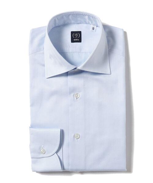 BEAMS F / ヘリンボーン ワイドカラーシャツ