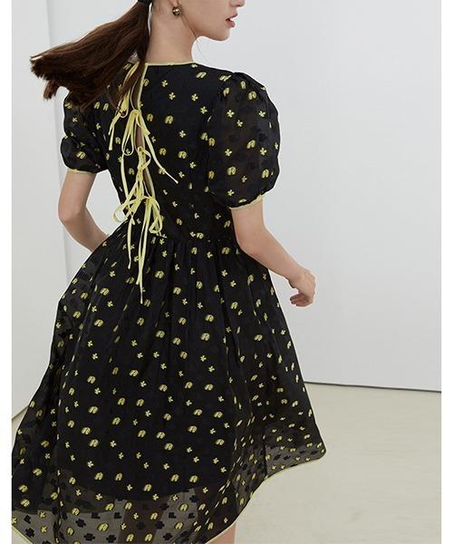 【Fano Studios】【2021SS】Flower garden jacquard back ribbon dress FX21L091