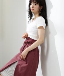 PROPORTION BODY DRESSING(プロポーションボディドレッシング)のフロントプリーツリボンタイトスカート(スカート)