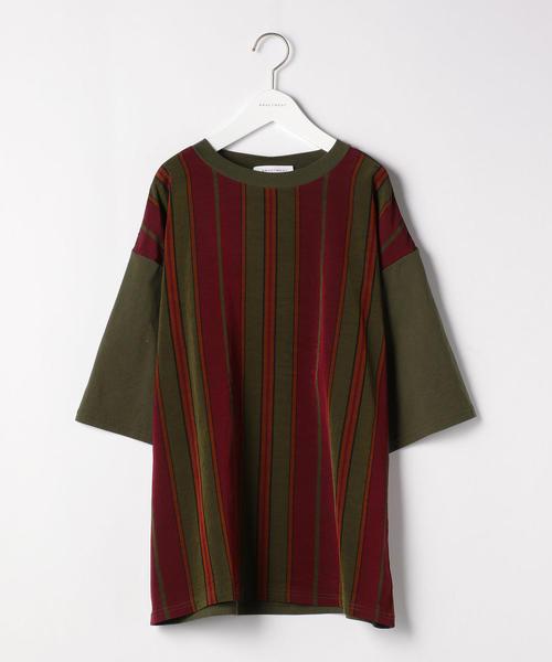 『BRACTMENT(ブラクトメント)』  MANTECO マルチストライプ クルー Tシャツ