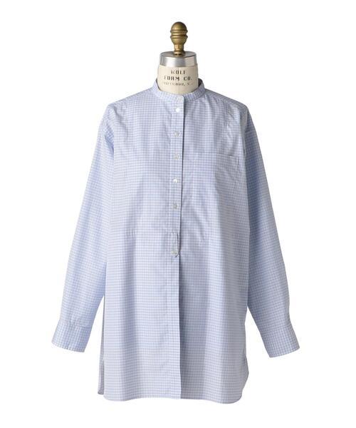 <Drawer(ドゥロワー)> コットンチェックスタンドカラーシャツ