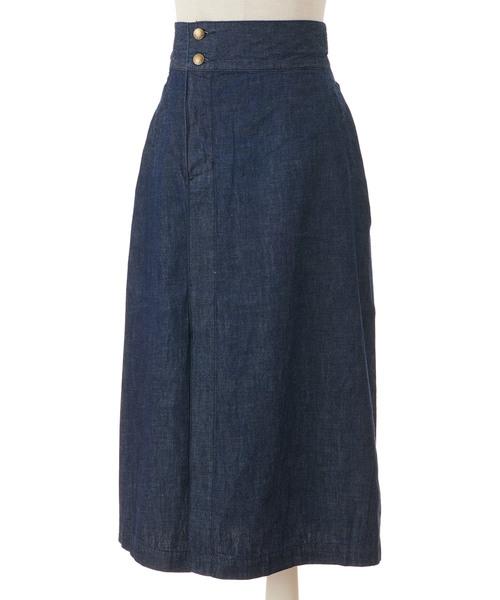 バックリボンデニムAラインスカート
