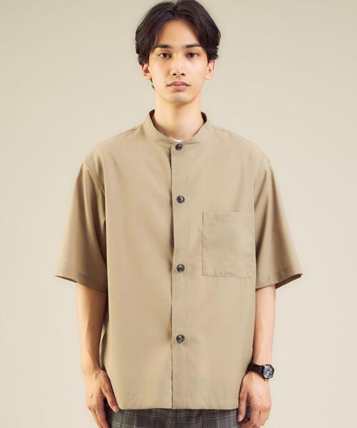 < 機能 / ストレッチ・洗濯機洗い可 > ウォッシャブルトロ バギー バンドカラー 半袖 シャツ