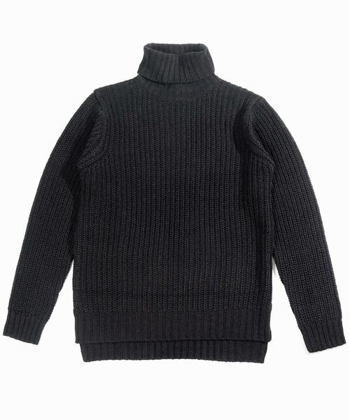 【neos -sellect design-】ルーズシルエット 畦編み タートルネック セーター