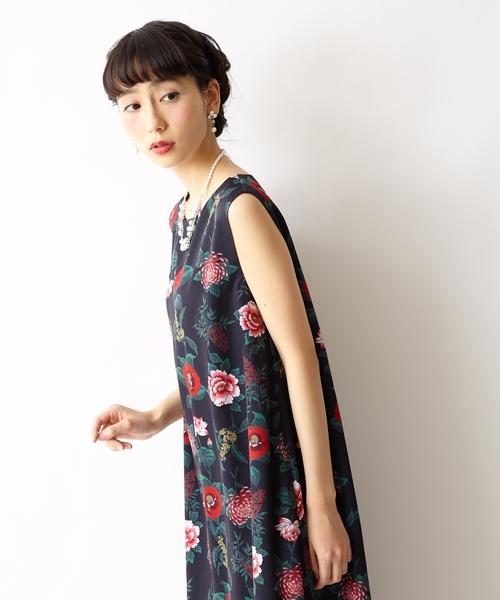 【花園】総柄ロングワンピース