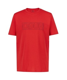 ee1a45174f40 HUGO MAN(ヒューゴ マン)の「クルーネック Tシャツ イン コットン ウィズ リバース