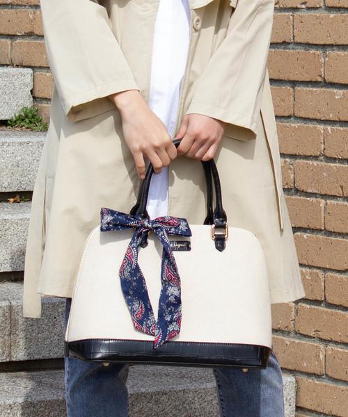 スカーフ付キャンバス×クロコ風型押しボストンバッグ Lサイズ
