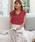 ASTORIA ODIER(アストリアオディール)の「【UVカット加工/接触冷感】バックリボン フレンチスリーブサマーニット(ニット/セーター)」|ピンク