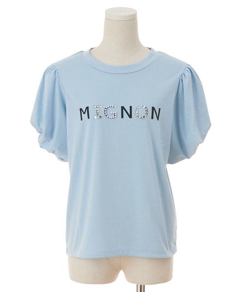 ビジューロゴパワショルTシャツ