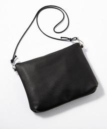 ヴィーガンレザーサコッシュ バッグ スクエア ショルダーバッグ ミニショルダー(EMMA CLOTHES)ブラック