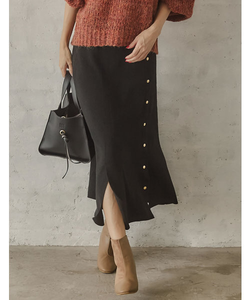 Re:EDIT(リエディ)の「PBTニットスリット入りフェイクボタンスカート(スカート)」|ブラック
