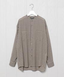 <VAINL ARCHIVE>CHECK NO COLLAR SHIRT/シャツ.