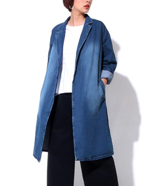 デニムテーラードカラーロングジャケット