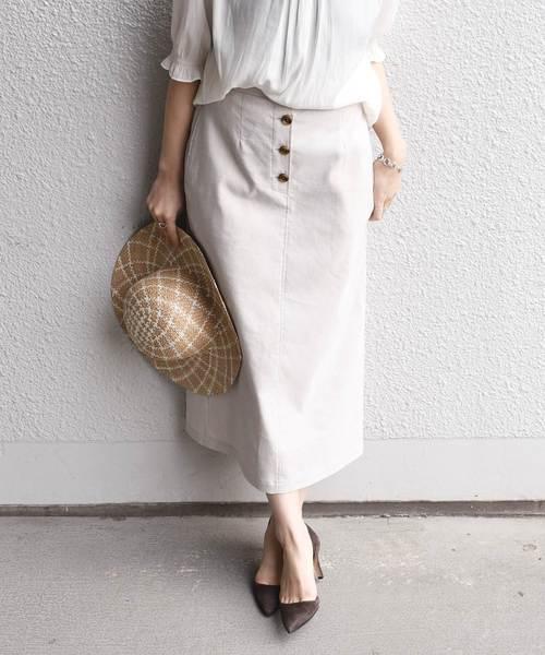 SHIPS(シップス)の「リネンポリエステルボタンスカート(スカート)」|ベージュ