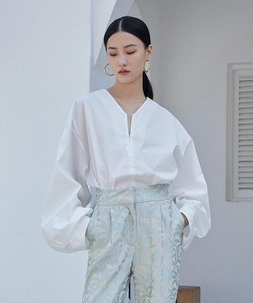 【chuclla】【2021/SS】Center zip-up volume sleeve blouse chw1495