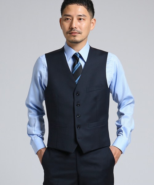 【J∞QUALITY】サージシングルベスト[ メンズ スーツ 結婚式 撥水 3シーズン セットアップ ]