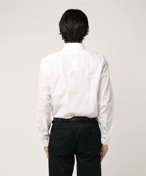 エムエフエディトリアルメンズ/m.f.editorial:MEN 形態安定ブロード無地 ワイドカラービジネスドレス長袖シャツ(白)