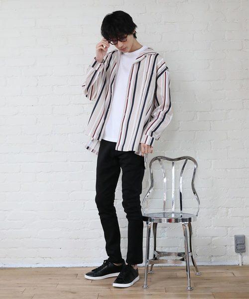 【NORMANBROS】ストライプ柄オープンカラーBIGシャツ
