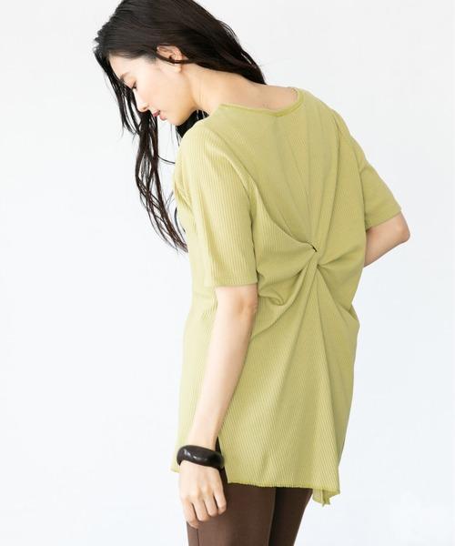LEPSIM(レプシィム)の「ツイストスリットリブプルオーバー 886316(Tシャツ/カットソー)」|イエロー