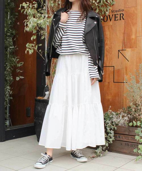 MODE ROBE(モードローブ)の「ティアードロングスカート(スカート)」|ホワイト