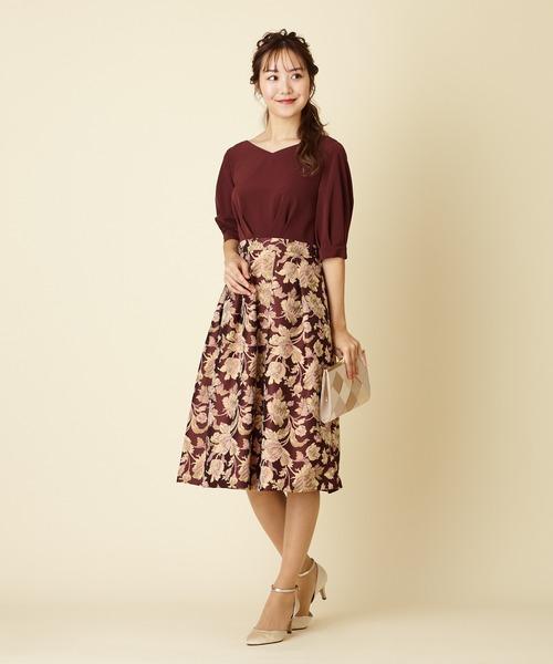 AIMER(エメ)の「フラワージャガードカフスドレス(ドレス)」|ワインレッド