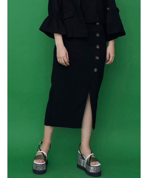 MURUA(ムルーア)の「ドライタッチペンシルスカート【セットアップ】【アシンメトリースカート】(スカート)」|ブラック