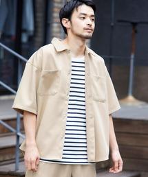 スタプレ ポリツイル オーバーサイズ半袖ワークシャツ/セットアップ可ベージュ