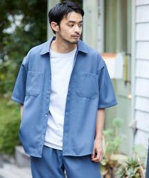 スタプレ ポリツイル オーバーサイズ半袖ワークシャツ/セットアップ可ブルー系その他