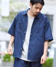 スタプレ ポリツイル オーバーサイズ半袖ワークシャツ/セットアップ可ネイビー