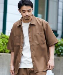 スタプレ ポリツイル オーバーサイズ半袖ワークシャツ/セットアップ可ブラウン