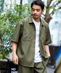 スタプレ ポリツイル オーバーサイズ半袖ワークシャツ/セットアップ可カーキ