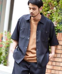 スタプレ ポリツイル オーバーサイズ半袖ワークシャツ/セットアップ可ブラック
