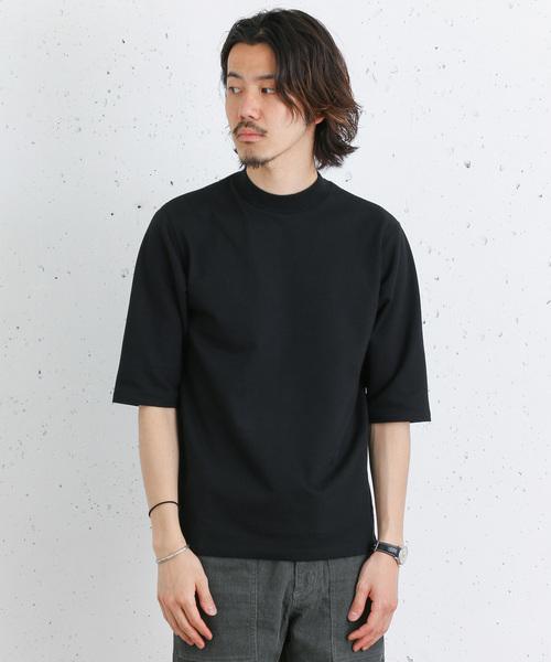 吸水速乾五分袖モックネックTシャツ