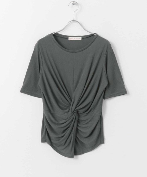SENSE OF PLACE by URBAN RESEARCH(センス オブ プレイス バイ アーバンリサーチ)の「ドレープリブトップス(半袖)(Tシャツ/カットソー)」|チャコールグレー