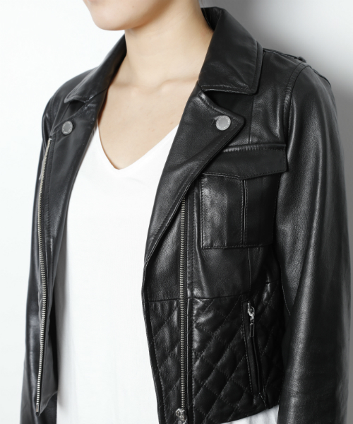 quilting leather riders jacket