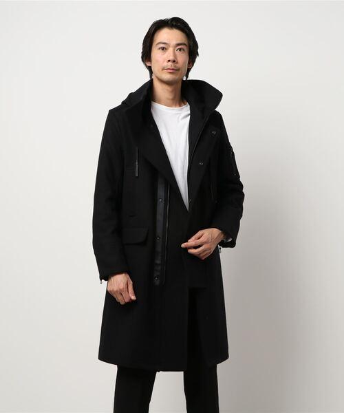 ·シェラック/SHELLAC ウール混デザインモッズコート