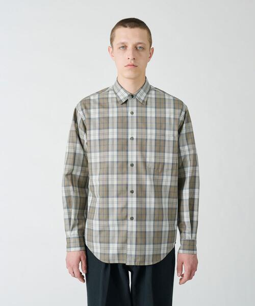 BY T/W チェック レギュラー テーパードシャツ