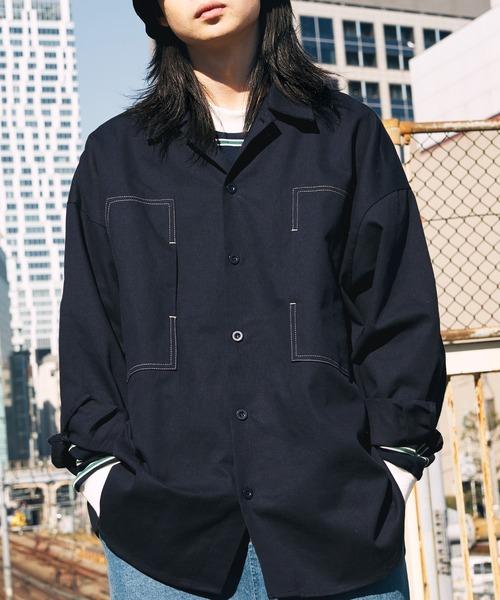 ビッグシルエット コットンツイル ステッチダブルポケット シャツジャケット