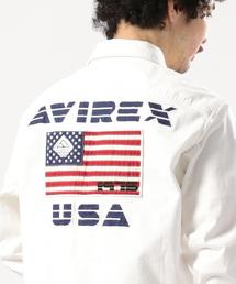 AVIREX(アヴィレックス)のAVIREX/アヴィレックス/ 長袖 ストレッチ ツイル パッチド シャツ/ L/S STRETCH TWILL PATCHED TWILL SHIRT 【AVIREX STREET GEAR/ FIELD】(シャツ/ブラウス)