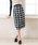 夢展望(ユメテンボウ)の「フロントボタンチェックタイトナロースカート(スカート)」|ブラック×ホワイト