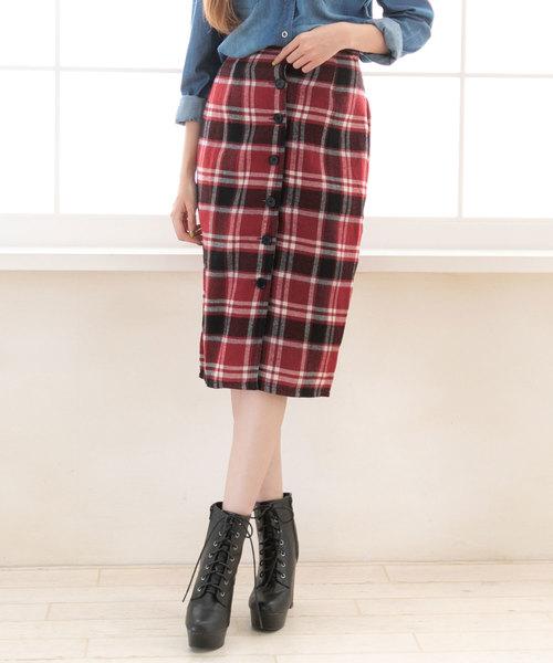 夢展望(ユメテンボウ)の「フロントボタンチェックタイトナロースカート(スカート)」|ボルドー