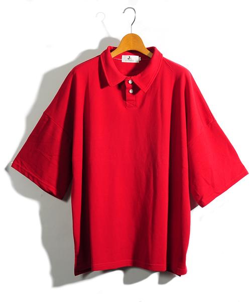 【neos -addictive design-】ルーズシルエットドロップショルダーワイドポロシャツ