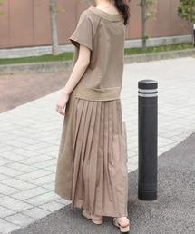 Bou Jeloud(ブージュルード)のバックスタイルが可愛い!◆スウェット後ろプリーツ半袖ワンピース(ワンピース)